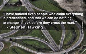 Stephen Hawking - paraphrase - even believers in predestiny look before crossing the street.